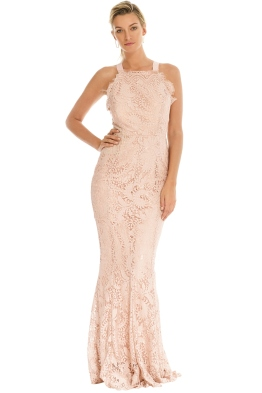 Grace and Hart - Mystic Lace Cross Back Gown - Blush - Front