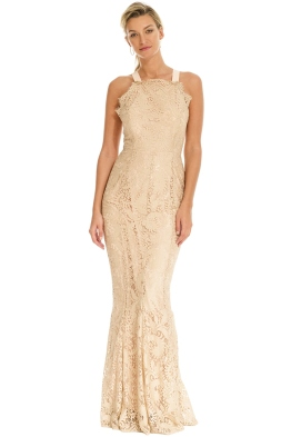 Grace and Hart - Mystic Lace Cross Back Gown - Nude - Front