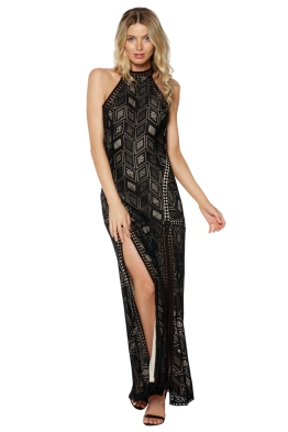 Guess - Sunset Geo Lace Maxi Dress - Black - Front