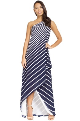 Halston Heritage - One Shoulder Stripe Wrap Gown - Navy - Front