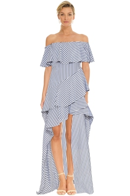 Halston Heritage - Striped off Shoulder Gown - Navy Charcoal - Front