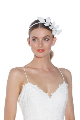Heather McDowall - Olive Fascinator - White - Front Model
