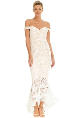 Jadore - Off Shoulder White Lace Dress - Front