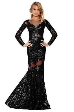 Jovani - Long Sleeve Lace Dress - Front