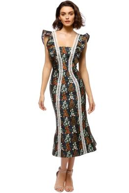 Keepsake - Faithful Midi Dress - Navy Floral - Front