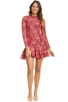 Keepsake The Label - Dreamers LS Lace Mini Dress - Rosewood - Front