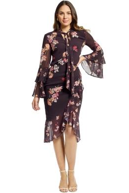 Keepsake the Label - Evolve Top and Skirt Set - Black Floral - Front