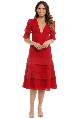 Keepsake the Label - Timeless Lace Midi Dress - Red - Front