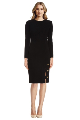 La Mania - Antares Long Sleeved Crepe Dress - Front