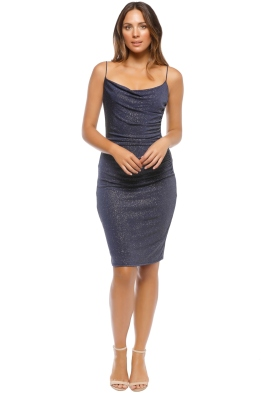 Laundry by Shelli Segal - Metallic Ruched Dress - Blue - Front
