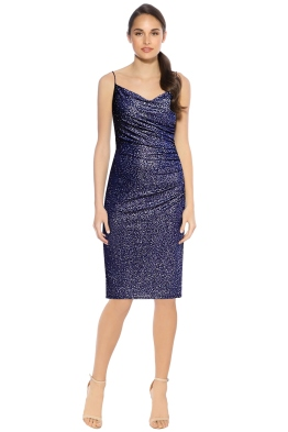 Laundry by Shelli Segal - Metallic Ruched Dress - Ink - Front