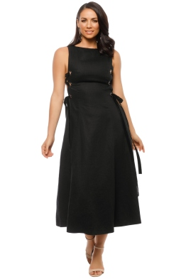 Leo & Lin - Side Lacing Linen Flared Dress - Black - Front