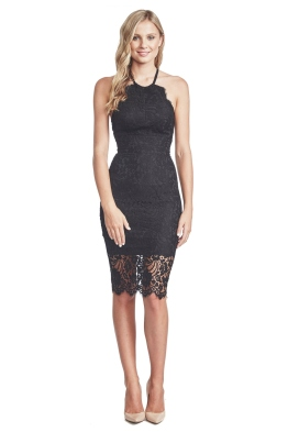 Lover - Black Lulu Halter Dress - Black Lace - Front