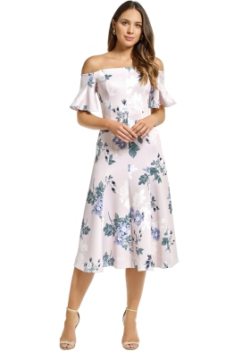 Lover - Petunia Off Shoulder Midi Dress - Pearl - Front