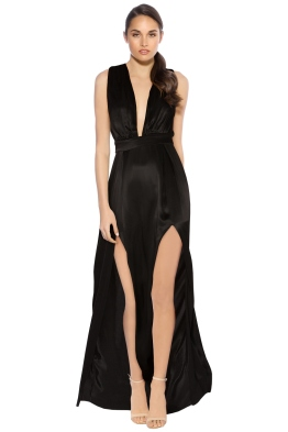 Lovers & Friends - Naoli Gown - Black - Front