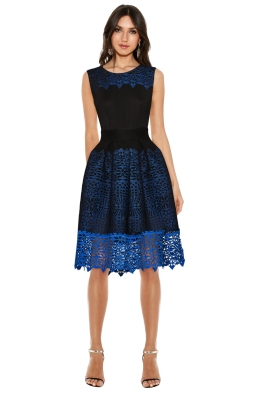 Maje - Russe Honeycomb Knit and Guipure Dress - Front