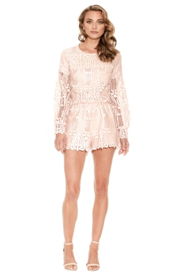 Ministry of Style - Lattice Lace Playsuit - Pink Sand - Front