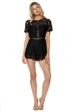 Ministry of Style - Lush Lace Playsuit - Black - Front