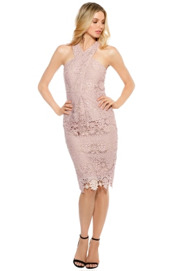 Ministry of Style - Cross Section Fitted Midi Dress - Blush - Front