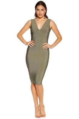 Misha Collection - Solange Bandage Dress - Khaki - Front