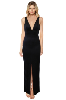 Misha Collection - V Front Split Maxi - Black - Front