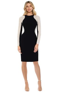 Montique - Celeste Knit and Mesh Dress - Black - Front