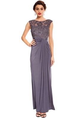 Montique - Maya Embroidered Gown - Grey - Front