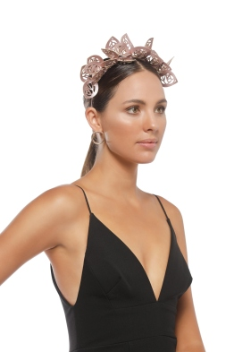 Morgan and Taylor - Jasmine Fascinator - Metallic Rose - Side Model