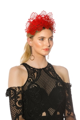 Morgan and Taylor - Kaisha Red Fascinator - Red - Side