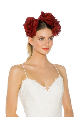 Morgan and Taylor - Maya Fascinator - Red - Side Model