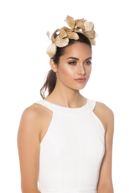 Morgan and Taylor - Norah Fascinator - Gold - Side Model