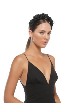 Morgan and Taylor - Rose Fascinator - Black - Side Model