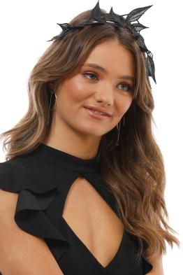 Morgan and Taylor - Shiloh Lace Applique Fascinator - Black - Side Model