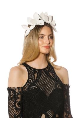 Morgan & Taylor Lavina Fascinator - White - Side Model