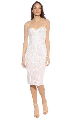 Mossman - Enchanted Garden Thin Strap Dress - Blush White - Front