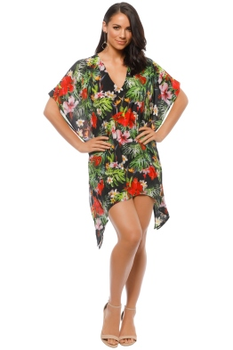 Natasha Gan - Tropical Print Kaftan - Black - Front