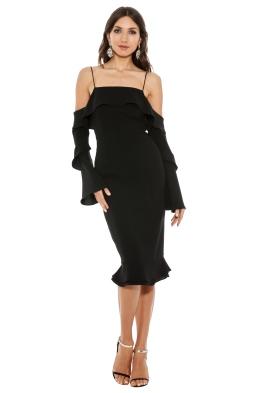 Nicholas - Crepe Spiral Sleeve Dress - Black - Front