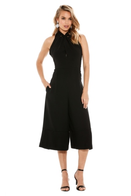 Crepe Halter Split Jumpsuit - Black - Front