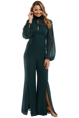 Nicholas - Georgette Backless Jumpsuit - Green Hunter - Front