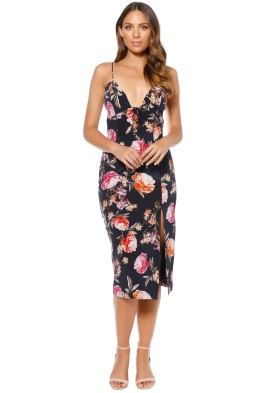 Nicholas - Lucile Floral Corset Bra Dress - Navy - Front