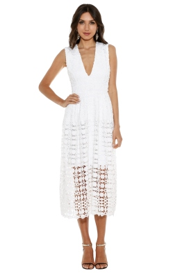 Nicholas - Mosaic Lace Ball Dress - White - Front