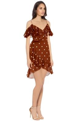 Nicholas - Rust Spot Wrap Frill Mini Dress - Brown - Side