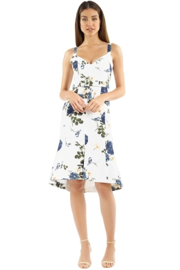 Nicholas The Label - Blue Rose Flare Midi Dress - White Floral - Front