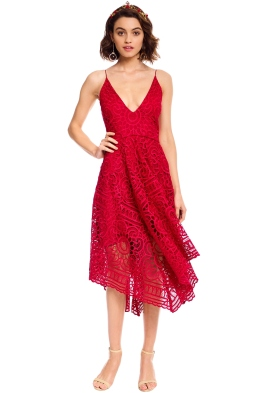 Nicholas - Floral Lace Ball Dress - Berry Red