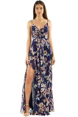 Nicholas the Label - Garden Rose Tie Front Maxi Dress - Navy Floral - Front