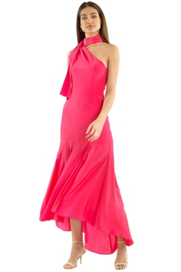Nicholas the Label - Silk Tie Neck Maxi Dress - Hot Coral - Front