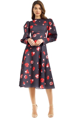 Nicola Finetti - Ariel Dress - Black Red Floral - Front