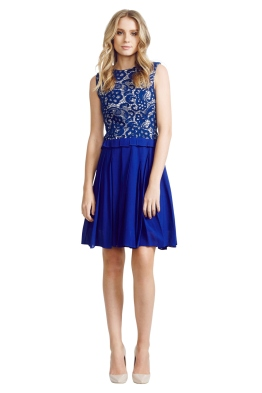 Nicola Finetti - Laced Pleat Dress - Front - Blue