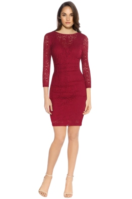 Nicole Miller - Illusion 3-4 Sleeve Dress - Red - Front