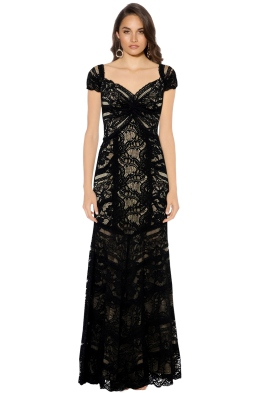 Nicole Miller - Loren Stretch Gown - Black Nude - Front